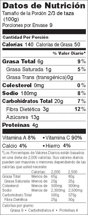 Foto de  información nutricional de Ensalada de Brócoli y Pasas