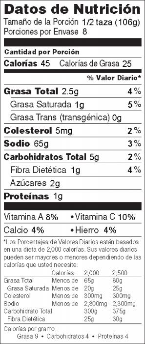 Foto de  información nutricional de Ensalada de Pepino y Tomate
