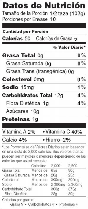 Foto de  información nutricional de Ensalada de Frutas