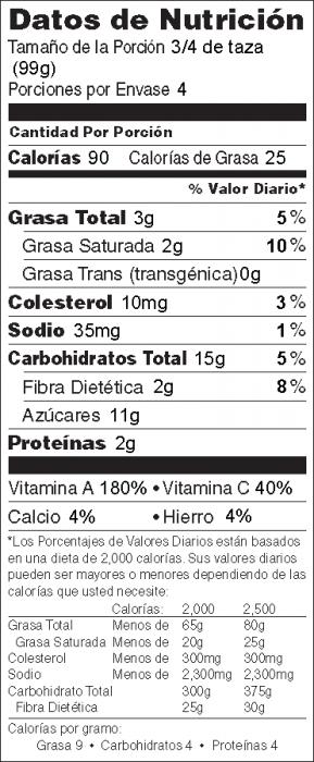 Foto de información nutricional de Zanahorias y Chícaros Chinos Glaseados