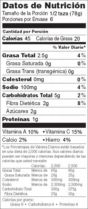 Foto de  información nutricional de Ejotes Asados