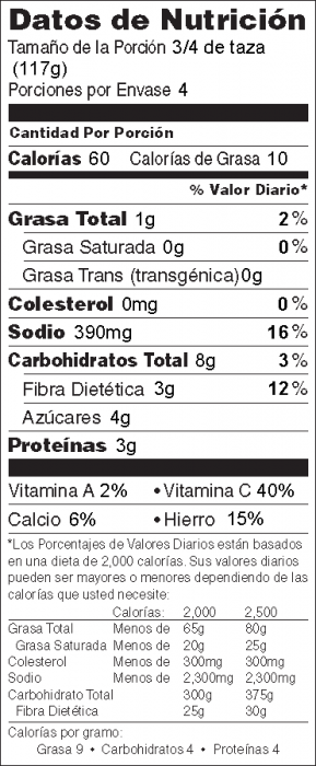 Foto de información nutricional de Chícaros Tiernos Asados