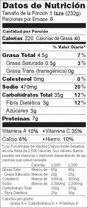 Foto de  información nutricional de Ensalada Fría de Pasta y Tomate