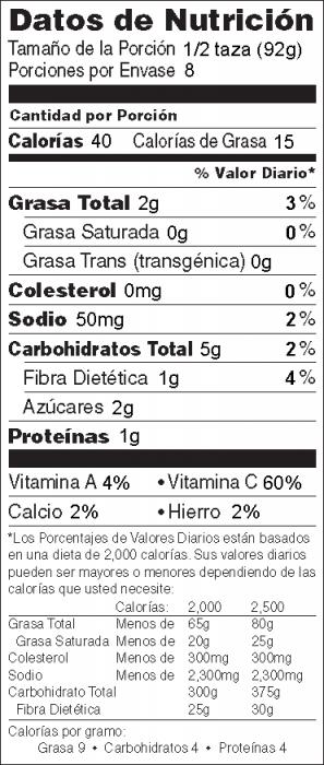 Foto de  información nutricional de Sofrito de Calabacita