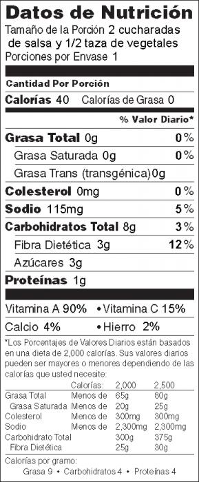 Foto de información nutricional de Salsa del Mercado de Agricultores con vegetales frescos
