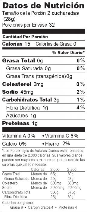 Foto de información nutricional de Salsa del Mercado de Agricultores