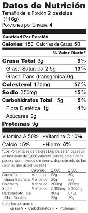 Foto de  información nutricional de Pasteles de Vegetales de la Huerta