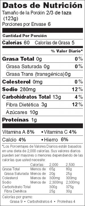 Foto de  información nutricional de Ejotes con Mostaza y Miel