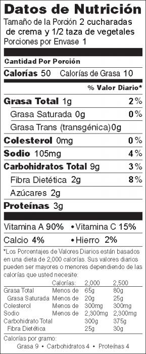 Foto de información nutricional de Crema de Garbanzos para untar (Hummus sin tahini) con vegetales frescos