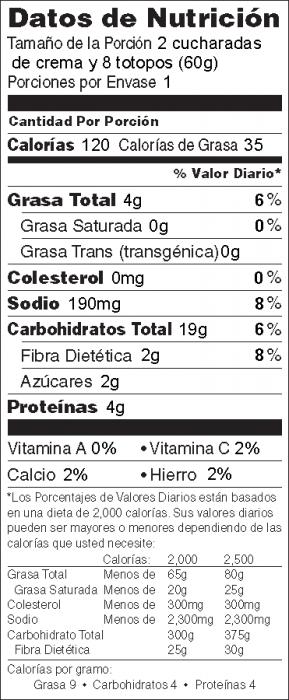 Foto de información nutricional de Crema de Garbanzos para untar (Hummus con tahini) con Totopos de Maíz Horneados de Héroe de Alimentos