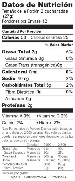 Foto de información nutricional de Crema de Garbanzos para untar (Hummus con tahini)