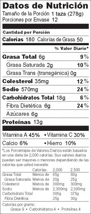 Foto de información nutricional de Sopa Italiana de Vegetales