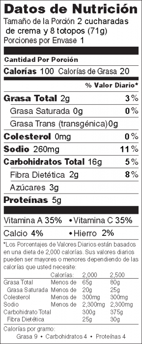 Foto de  información nutricional de Salsa de Col Rizada con Totopos de Maíz Horneados de Héroe de Alimentos