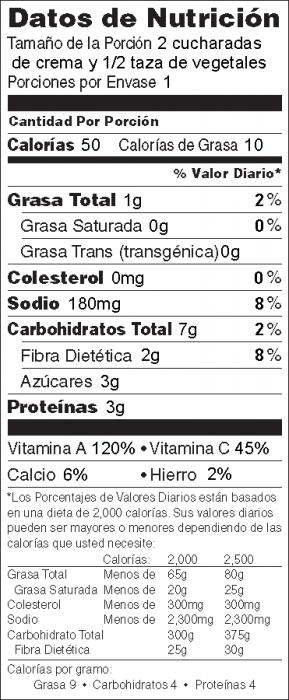 Foto de  información nutricional de Salsa de Col Rizada con vegetales frescos
