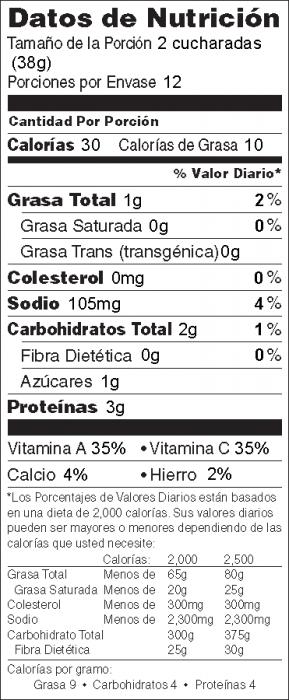 Foto de  información nutricional de Salsa de Col Rizada
