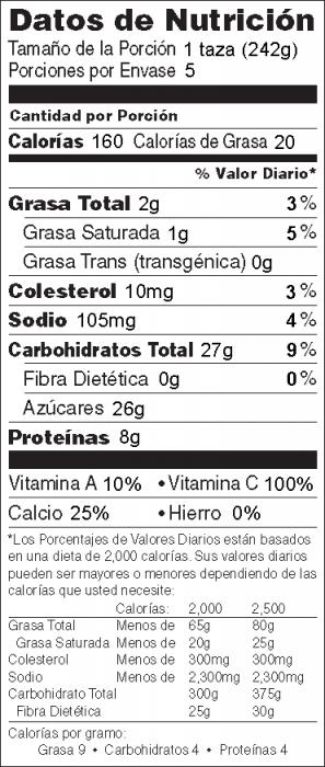 Foto de  información nutricional de Licuado de Naranja