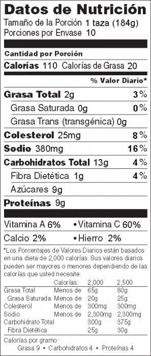 Foto de  información nutricional de Pollo Cítrico Estilo Asiático