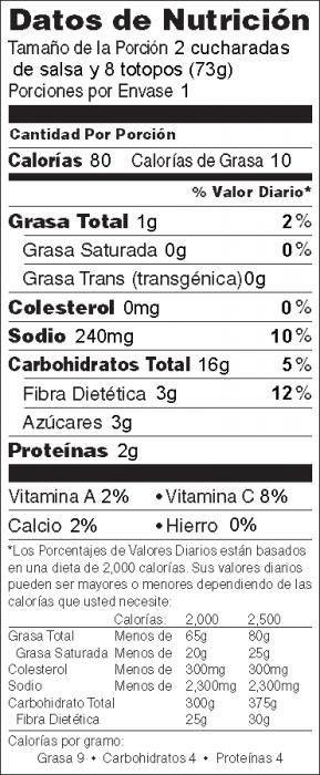 Foto de información nutricional de Salsa de Tomate Rápida con Totopos de Maíz Horneados de Héroe de Alimentos
