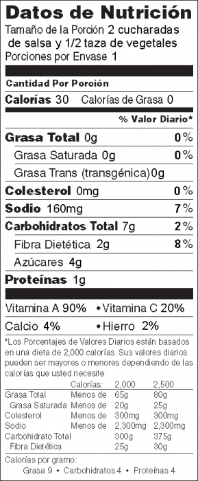 Foto de información nutricional de Salsa de Tomate Rápida con vegetales frescos