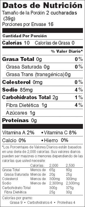 Foto de información nutricional de Salsa de Tomate Rápida