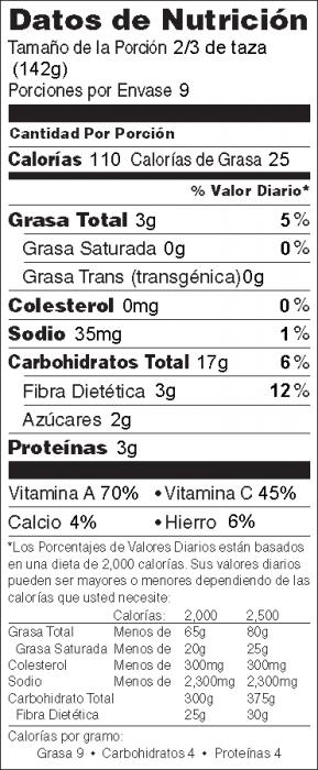 Foto de  información nutricional de Ensalada de Quínoa