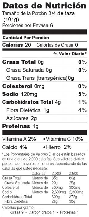 Foto de  información nutricional de Ensalada de Rábano y Pepino