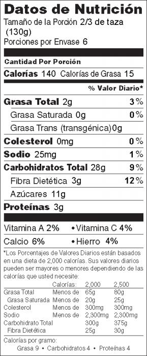 Foto de  información nutricional de Ensalada de Arroz