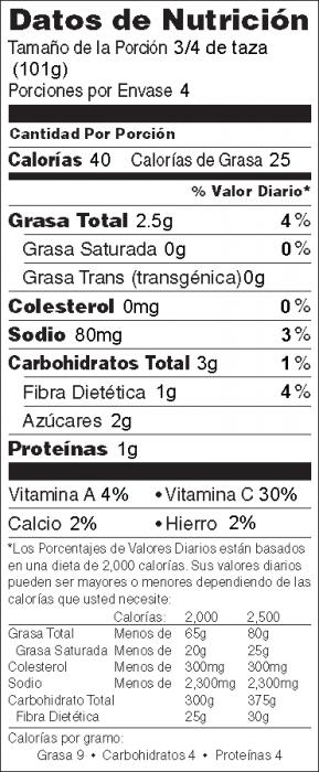 Foto de información nutricional de Calabacita Salteada