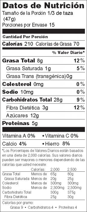 Foto de  información nutricional de Granola a la Sartén