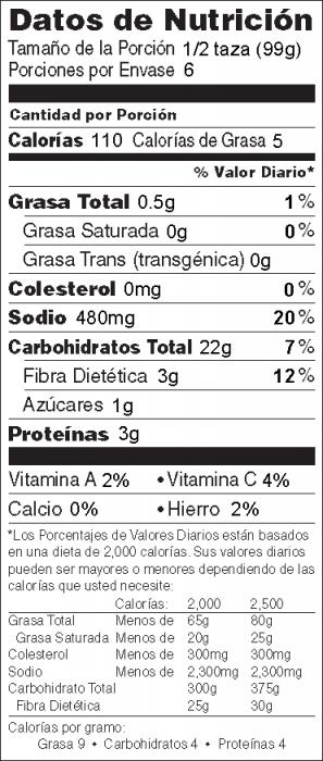 Foto de información nutricional de Arroz Español