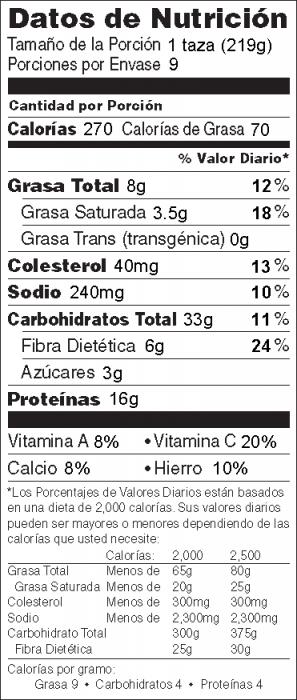 Foto de  información nutricional de Hamburguesa Deliciosa en la Sartén