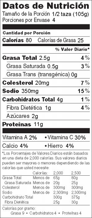 Foto de  información nutricional de Ensalada de Atún-Repollo