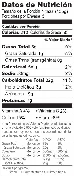 Foto de  información nutricional de Muesli de Frutas
