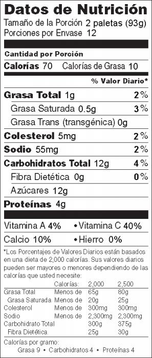 Foto de  información nutricional de Paletas de Yogur