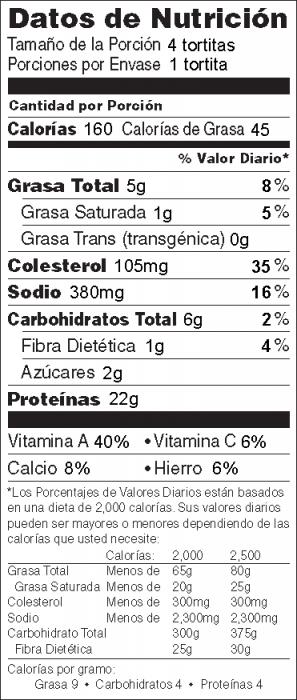 Foto de  información nutricional de Hamburguesas de Salmón