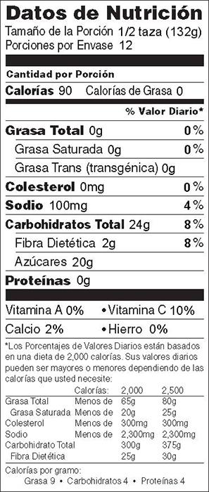 Foto de  información nutricional de Puré de Manzana con Arándanos