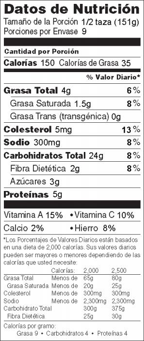 Foto de  información nutricional de Orzo con Puerros y hongos
