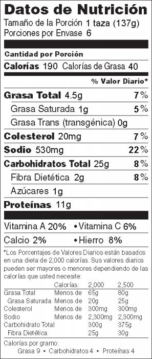 Foto de  información nutricional de Ensalada de Pasta