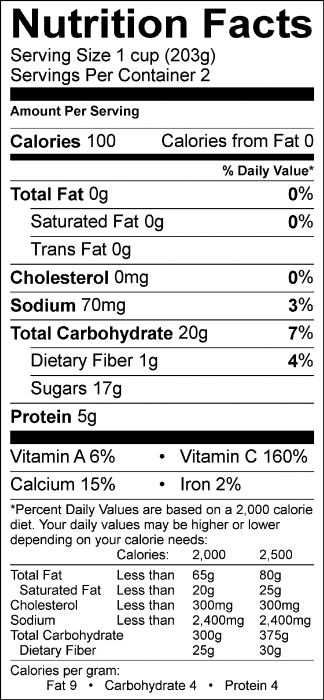 Photo of Nutrition Facts of Peach Cooler