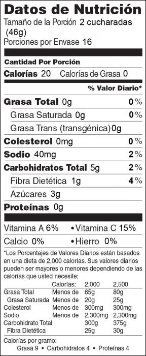 Foto de  información nutricional de Salsa de Durazno