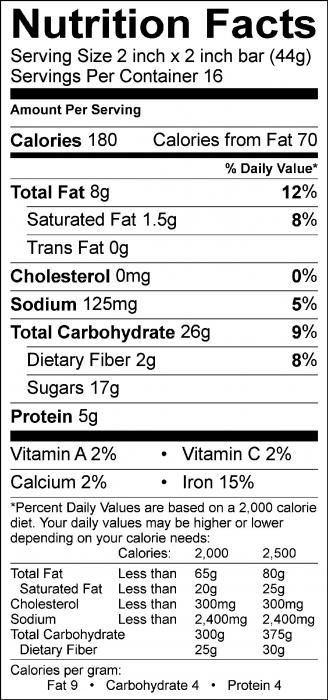 Photo of Nutrition facts of Peanut Butter Cereal Bars With Corn Flakes