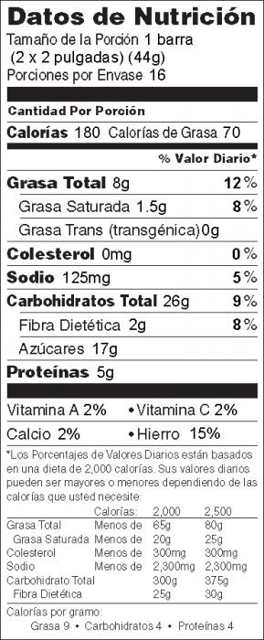 Foto de información nutricional de Para Hojuelas de Maíz