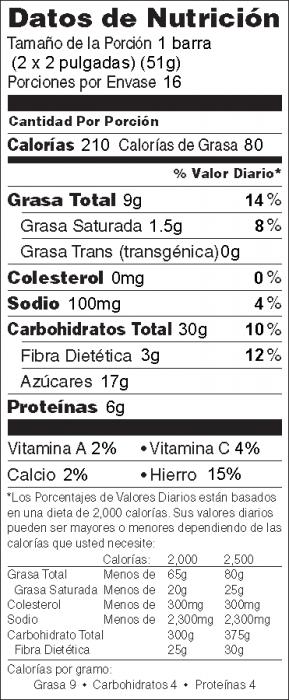 Foto de información nutricional de Para Cereal de Arroz y Avena
