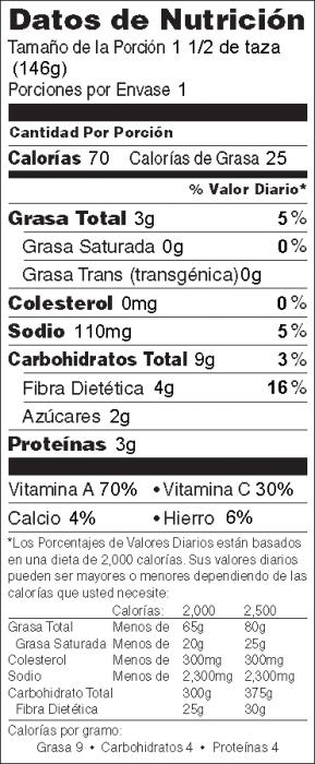 Foto de  información nutricional de Ensalada Individual en Bolsa