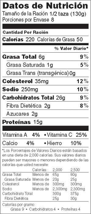 Foto de  información nutricional de Ensalada de Pasta Personalizada