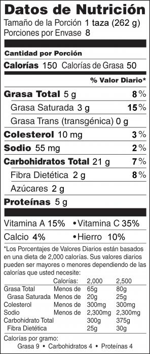Foto de  información nutricional de Sopa Cremosa de Papas y Puerros