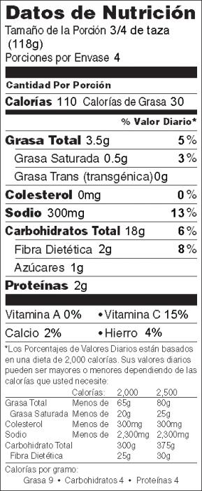 Foto de  información nutricional de Papas Compañeras