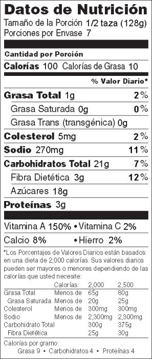 Foto de  información nutricional de Pudín de Calabaza
