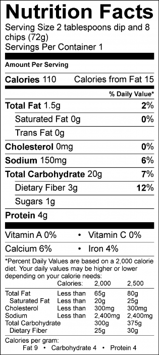 Photo of Nutrition Facts of Ranch Dip with Food Hero Baked Tortilla Chips