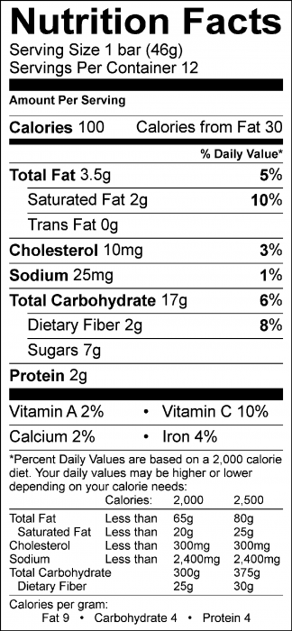 Photo of Nutrition Facts of Raspberry Oatmeal Bars